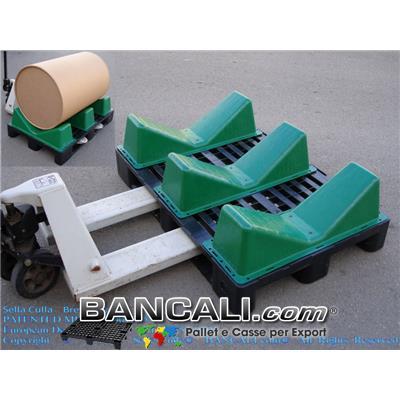 3 Selle Culle montate su Pallet in Plastica Logistic80x120 per la movimentazione e il Trasporto di Bobine
