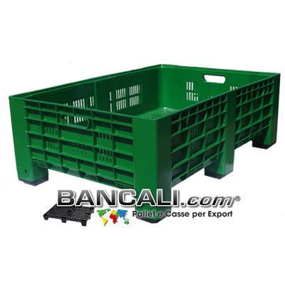 AgriBox 800x1200 h 410 mm. Micro Bins in plastica Pareti Forate, Fondo Forato, Ventilato idoneo per l'agricoltura; Peso Tara 15 Kg.