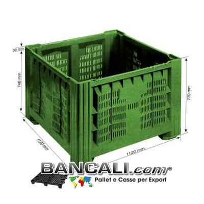 AgriBox Bins 1120x1120 h.770 mm di Plastica Vergine per uso Alimentare. Peso Tara Kg. 33