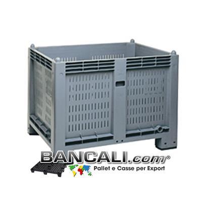 AgriBox® CargoPallet Box 600 Litri; Cassone in Plastica: Pareti Forate, Fondo Chiuso;  800x1200 h.850;  Atossico: per uso alimentare;