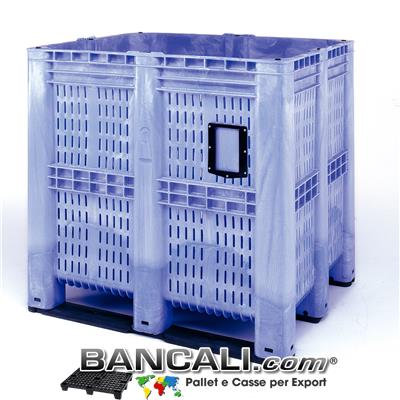 AgriBox® Contenitore Box 1390 Litri,  Maxi Bins 1150x1300 h 1250 mm. con 3 Travese. Peso Tara 70 Kg.