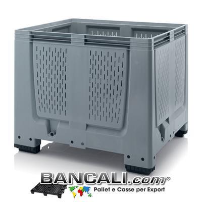 Agri Box 1000x1200 h.1000 mm. in plastica HDPE Atossica per Alimenti, Pareti e Fondo Forato, Capienza 900 Litri, 4 piedi, Peso Tara 42 Kg.