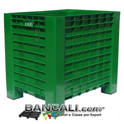Agri Box 600x800 h.740 mm Cassa in plastica Ventilata idonea per l'agricoltura,  dotata di 4 piedi e 2 Maniglie per agevolare il trasporto. Tara Peso. 12,5 Kg