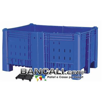 Agri Box Bins Lungo 1340 mm. Largo 1040 mm alto 720 mm Accorciato Saldato in Plastica Vergine 10 Piedi Igienico Forato Sovrapponibile Peso Tara 43 Kg.
