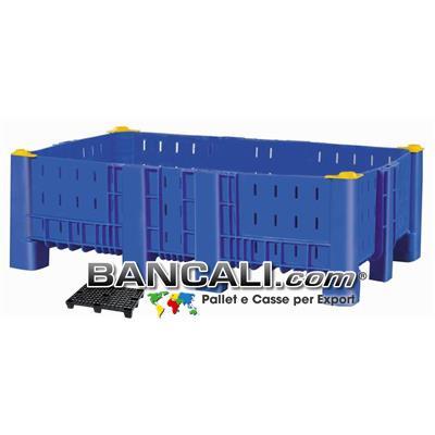Agri Box Bins Lungo 1610 mm. Largo 1040 mm ad altezza ridotta  430 mm in Plastica Vergine 10 Piedi Igienico Forato Sovrapponibile Peso Tara 40 Kg.