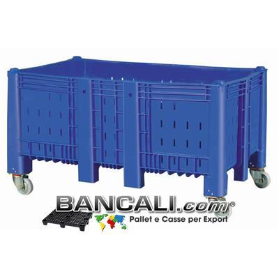 Agri Box Bins Lungo 1610 mm. Largo 1040 mm con 4 Route alto 840 mm in Plastica Vergine 10 Piedi Igienico Forato Peso Tara 60 Kg.
