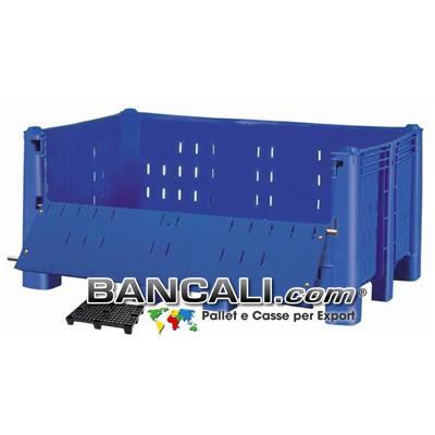 Agri Box Bins Lungo 1610 mm. Largo 1040 mm con Ribaltina Lato Lungo alto 720 mm in Plastica Vergine 10 Piedi Igienico Forato Sovrapponibile Peso Tara 52 Kg.