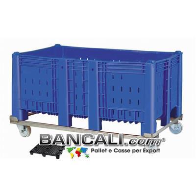 Agri Box Bins Lungo 1610 mm. Largo 1040 mm con Telaio in Metallo e 4 Route alto 840 mm in Plastica Vergine 10 Piedi Igienico Forato Peso Tara 68 Kg.