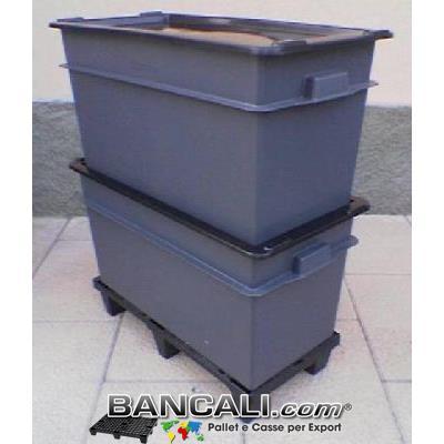 BOX CASSA per l'Export  da 70 Litri  cm 40x80 h.41 con COPERCHIO.       Cassa di  Plastica con Maniglie