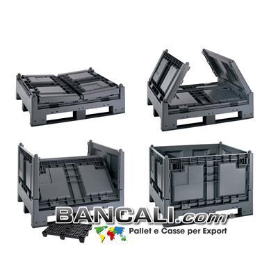 BOX  Navetta  100x120 h.84  (ripiegato h.36cm)  Cassa Ripieghevole a Pereti abbattibili in Plastica
