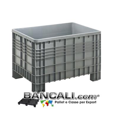 Bac Box Dimensions ext: 1200 x 800 x 800 cm EuroBox Plastic Pallet Box internal: 1110 x 735 x 600 cm Poids modèle Virgin Plastic Atoxic for food contact Alimentaire Classic ExterieursCotes Nervures 4 pieds Tare Poid 25 Kg.