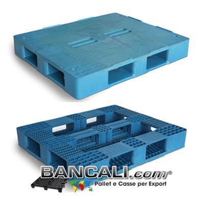 Bancale Rettangolare in Plastica 1000x1200 mm. Piano Chiuso con 4 Fessure al centro e 5 Slitte sotto;  idoneo a Scaffalature. Peso  28 Kg.