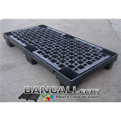 Bancale Stretto 600x1200 h.150 mm. in plastica Robusto, Pianale Grigliato, inseribile con 6 Piedi, inforcabile 2 vie. Peso Tara 9,3 Kg.