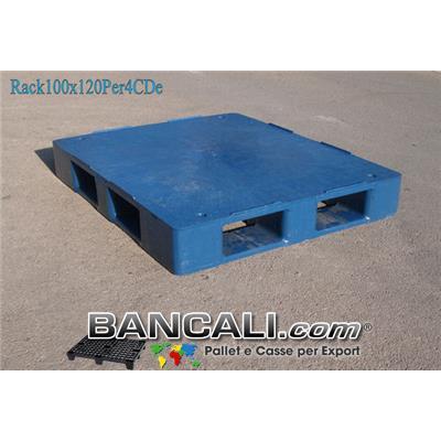 Bancale in Plastica 100x120 Piano Chiuso  (con 4 Slitte = Perimetrale)  molto Forte e Resitente idoneo a Scaffalature. Peso  29,7 Kg.