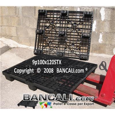 Bancale in Plastica 100x120 Piedi 9 inseribile, Grigliato Robusto, 13 Kg.  Per Portate Medio Pesanti;  confezionato da 44 pezzi; Ottimo come: EXPORT-PALLET®