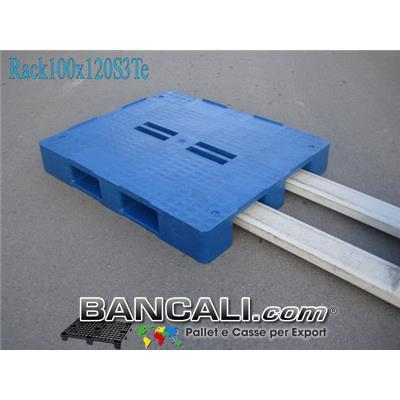 Bancale in Plastica 100x120 h. 170 mm Piano Chiuso con 4 Fessure al centro e 3 Slitte sotto;  molto resitente idoneo a Scaffalature. Peso  28 Kg.