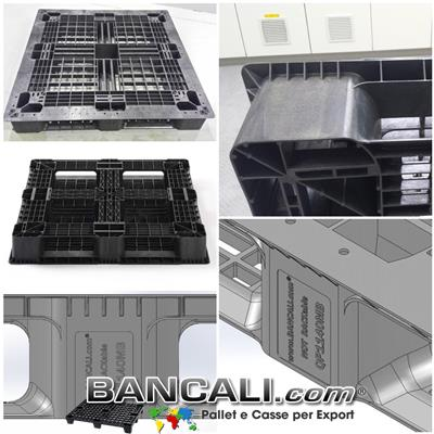Bancale in Plastica Quadrato 1140x1140 mm. h.150 per Container Pallet Strutturale Pianale Grigliato a Sbalzo. Portata Medio Robusta. Tara Peso: 14,5 Kg.