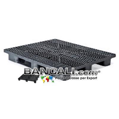 Bancale in Plastica Rettangolare 1100x1300 Sovrapponibile con 3 Slitte Piano Grigliato (Stile EuroPallet)  Kg. 22  per Portata Pesante