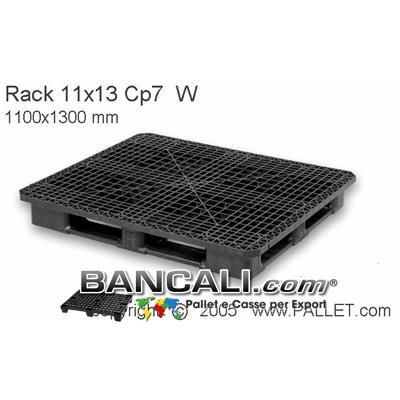 Bancale in Plastica Rettangolare 1100x1300  h.170 mm Sovrapponibile Perimetrale con 5 Slitte Piano Grigliato.  Kg. 24