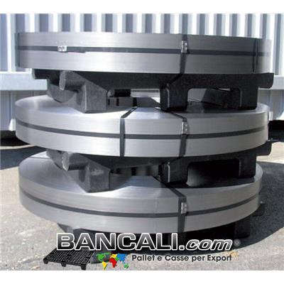 Bancale in Plastica Riciclata per lo stoccaggio di Dischi Metallici o Bandelle metalliche. dimensione 840 mm x1000 mm; altezza 180 mm Kg. 21; Inforcabile 2 Vie.