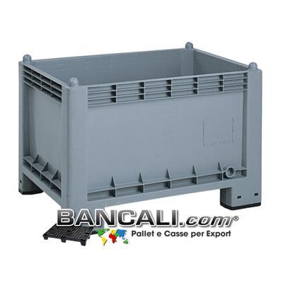 Box Cassa in Plastica 700x1000 h.650 mm 4 Piedi igienico Atossico Uso Alimentare Grigio Pareti Chiuse Pittogramma HACCP e Standard BRC. Peso Tara 17 Kg.