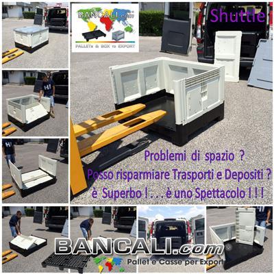 Box Shuttle Contenitore 800x1200 h.97 mm in Plastica con Pareti ripieghevoli Riduce l'ingombro e costi di trasporto Colore Avorio e Nero Peso Tara 52 Kg.