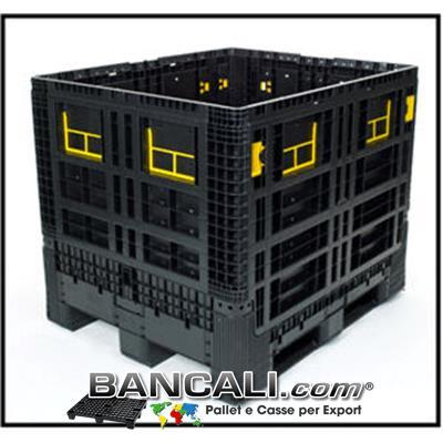 Box in Plastica 1000x1200 h.975 mm. 4 Pareti Ripieghevoli, di cui 4 sportelli abbattibili; Peso 49 Kg. Capacità in Litri 800; Fornito con Coperchio.