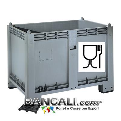 CARGO PALLET EuroBox  550 Lit. 80x120 h85 ATOSSICO  realizzato con Plastiche nobili e dotato di Simbolo impresso sul cassone per l'idoneità agli  ALIMENTI  e per gli  usi igienici.