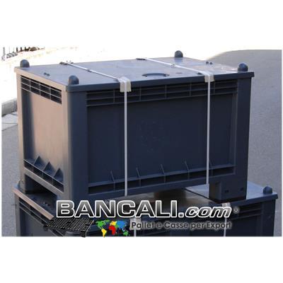 CASSA per EXPORT 70x100 h.65cm 300 Litri  in  PLASTICA IGIENICO, ATOSSICO Per Uso ALIMENTARE. 4 piedi  con  il  COPERCHIO