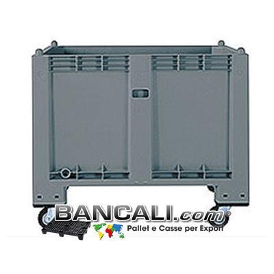 CargoPALLET 600 L. Igienico 80x120 h.85 con 4 ruote  ( h.100 )  Chiuso ATOSSICO  per  ALIMENTI