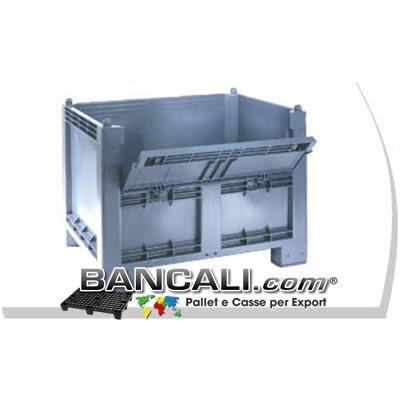 CargoPALLET  Box  in Plastica 600 Litri  con SPORTELLO; Igienico e  ATOSSICO; dimensioni:  800x1200 h.850 mm. 4 Piedi,  colore Grigio Chiaro.