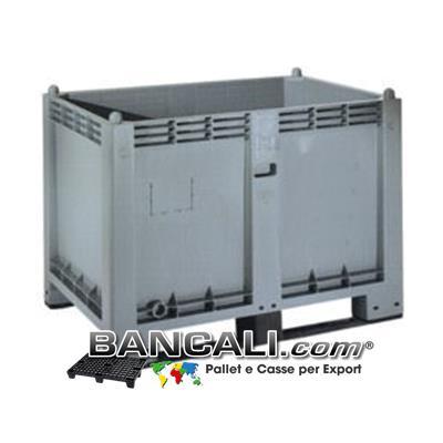 CargoPallet 80x120 h85 cm. 600 Litri Contenitore in plastica atossica per alimenti con 2 Slitte o traverse, Box indoneo a Scaffale o Rack. Peso Tara 27 Kg.