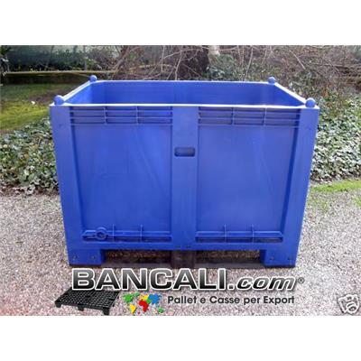 CargoPallet EuroBox 800x1200 h.850 mm. Stampato Colore Blu per Classificare Merce  550 Lit. Atossico Plastiche Nobili Alimenti Usi igienici. Peso Tara Kg. 25