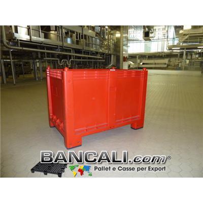 CargoPallet EuroBox 800x1200 h.850 mm. Stampato Colore Rosso per Classificare Merce  550 Lit. Atossico Plastiche Nobili Alimenti Usi igienici. Peso Tara Kg. 25