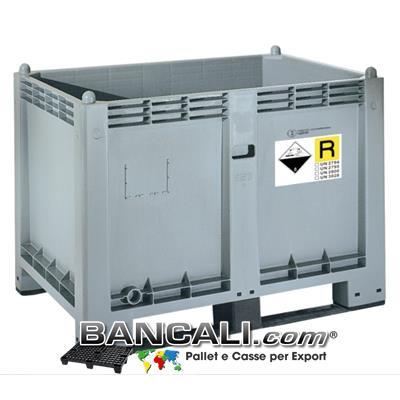 CargoPallet EuroBox 80x120 h85 550 Lit. ATOSSICO realizzato con Plastiche nobili. Versione omologata per il trasporto e lo stoccaggio delle Batterie esauste secondo ADR, P801, UN 2794, 2795, UN 2800, UN 3028 Peso Tara Kg. 30