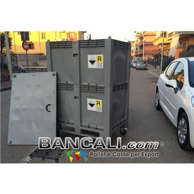 Cargo Pallet Box a TORRE 800x1200 h.1700 mm. in Plastica nobile; dotato di 4 Route. Destinato per tutti gli usi industriali specifici e generici.  Peso Tara con Ruote 67 Kg.
