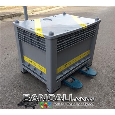 Cassa per Export 700x1000 h.750cm 350 Litri in Plastica a 2 Vie Rinforzata con Nest BK 60x80 con Coperchio Peso Tara 30 Kg.