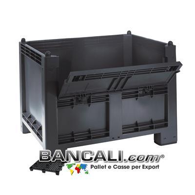 Cassone Box CargoPALLET 600 Litri in Plastica 800x1200 h 850 mm. con Portello 4 piedi Grigio Industriale; Tara Kg. 28 circa