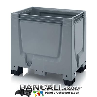 Contenitore Box 600x800 altezza 790 mm in plastica atossica , 4 piedi, Pareti chiuse Idonea a contenere Liquidi. Peso Tara 15