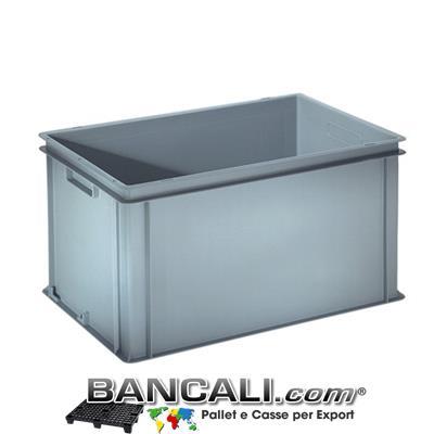 Contenitore Robusto 400x600xh.320 mm. in Plastica Atossica capacità Litri 60. La cassa è sovrapponibile Dotata di 2 Maniglie NON Passanti. Peso Tara Kg. 2,740