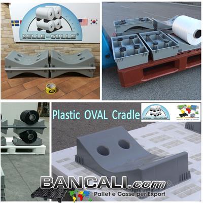 Culla Porta Bobine Diametro Max 800 mm in plastica HDPE Vergine  Sella per Cilindri con 4 Gommini  per appoggiarla al pallet o pavimento. Peso Tara 1,7Kg.