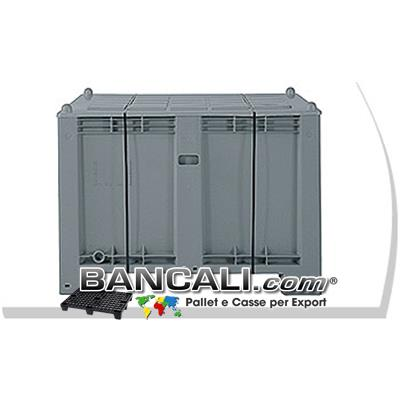 EXPORT-BOX ATOSSICO in PLASTICA x EXPORT o USO INTERNO 550L. cm. 80x120 h.85 + COPERCHIO Pareti chiuse 4  Piedi;  ExportBox®  Kg. 33