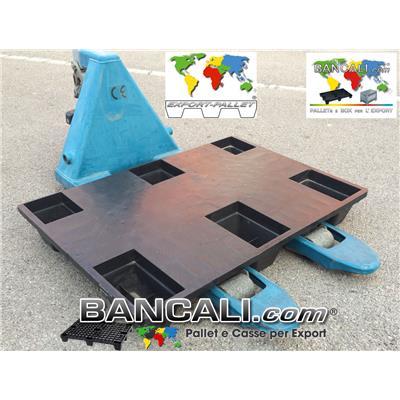 EXPORT-PALLET® 670x1000 mm. in Plastica inseribile rettangolare a piano chiuso 6 piedi, Idoneo per spedire via Marittima e via Aerea. Tara Peso 5 Kg.