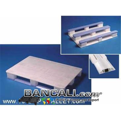 EuroPALLET 800x1200 BIANCO molto Igienico; con 3 slitte BLU con all'interno  3 Barre di Metallo  come rinforzo che lo rendono: idoneo allo SCAFFALE