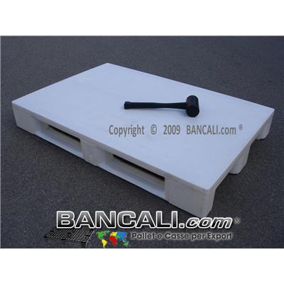 EuroPALLET 800x1200 mm. Igienico con standard HACCP,  plastica  vergine  per Alimenti, con 3 slitte. CON Bordi sul pianale, colore BIANCO. Peso Tara 16 Kg
