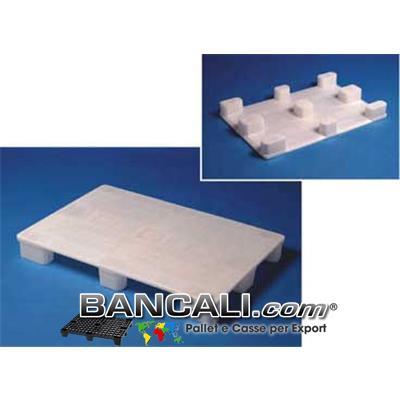 EuroPallet 80x120 con standard Igienico elevato HACCP e Farmaceutico Bianco Atossico Piano Chiuso,  inodore, Neutro, 9 Piedi, Kg. 11,5, molto Lavabile e Sterilizzabile.