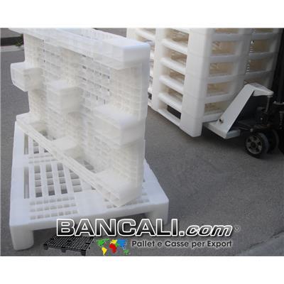 EuroPallet Igienico 80x120 BIANCO   ATOSSICO   GRIGLIATO PLASTICA con 2 Traverse Kg. 14