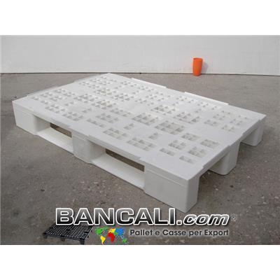 EuroPallet  in Plastica Sovrapponibile 80x120 Igienico, Atossico di colore Bianco, Fessurato a Quadrati Variabili; con 3 slitte sotto. Peso Tara: 14 Kg.