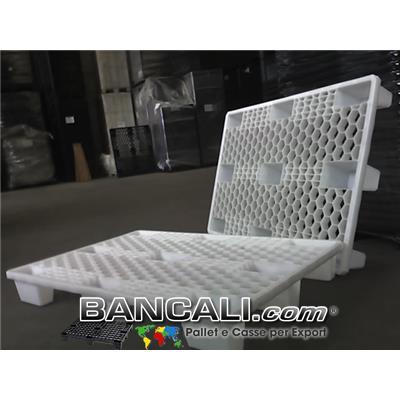 EuroPallet di PLASTICA Bianco 80x120 ATOSSICO  Neutro Inseribile 9 Piedi; Maglia Grigliato ESAGONALE  ALVEOLARE;      Kg. 8,5