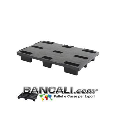 Europallet 800x1200 mm in Plastica  PIANO CHIUSO, inseribile con 9 Piedi idoneo all'Export.  Peso Tara 7 Kg.